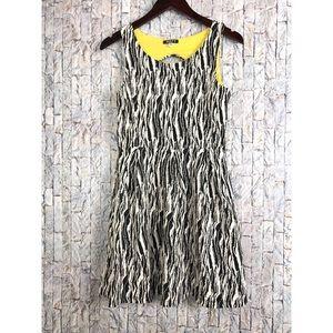 Minty Black/white Abstract Sleeveless Mini Dress